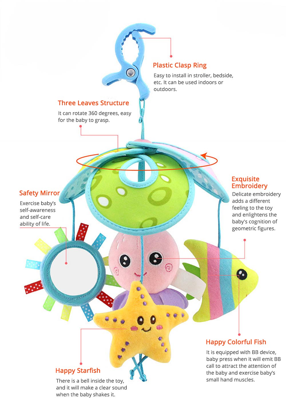 Cute Carton Forest Ocean Animal Series Baby Mobiles, Pacification Toy Wind Bell with Three Leaves Rotation Design for Infants 5