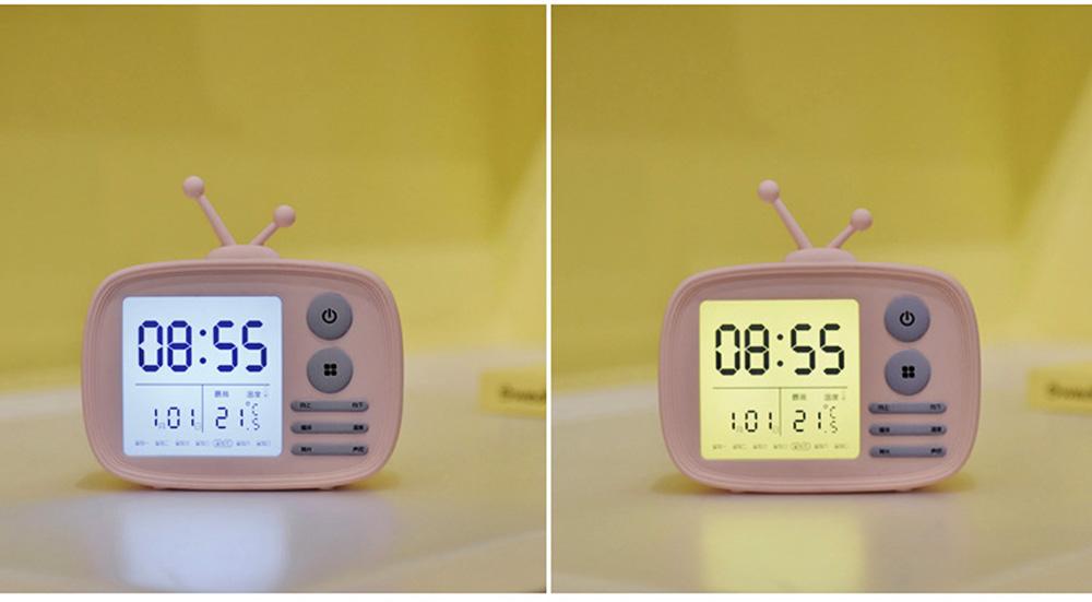Creative Television Model Intelligent Digital Alarm Clock Watch, Stylish Funny Clock with Sound Reminder Two Light 4