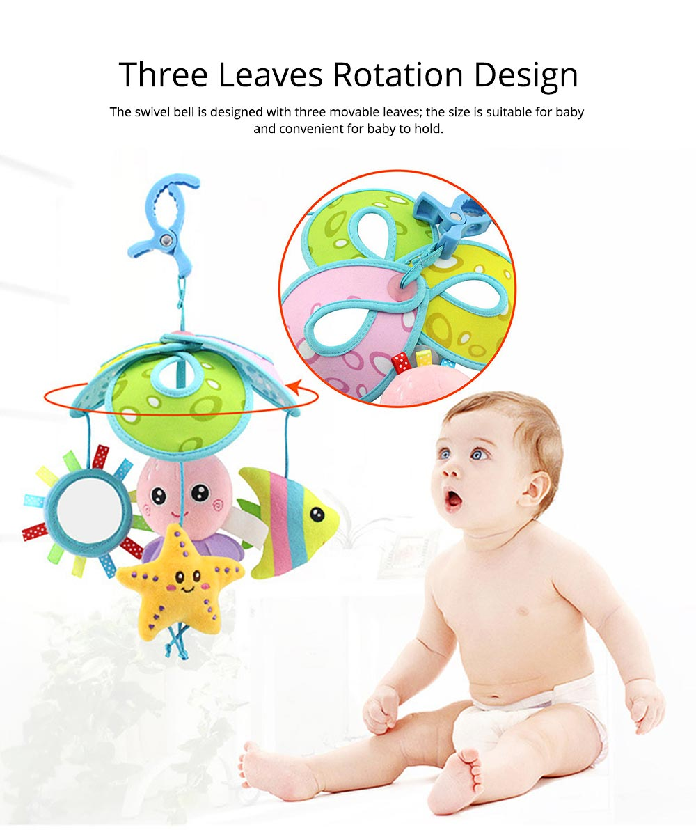 Cute Carton Forest Ocean Animal Series Baby Mobiles, Pacification Toy Wind Bell with Three Leaves Rotation Design for Infants 4
