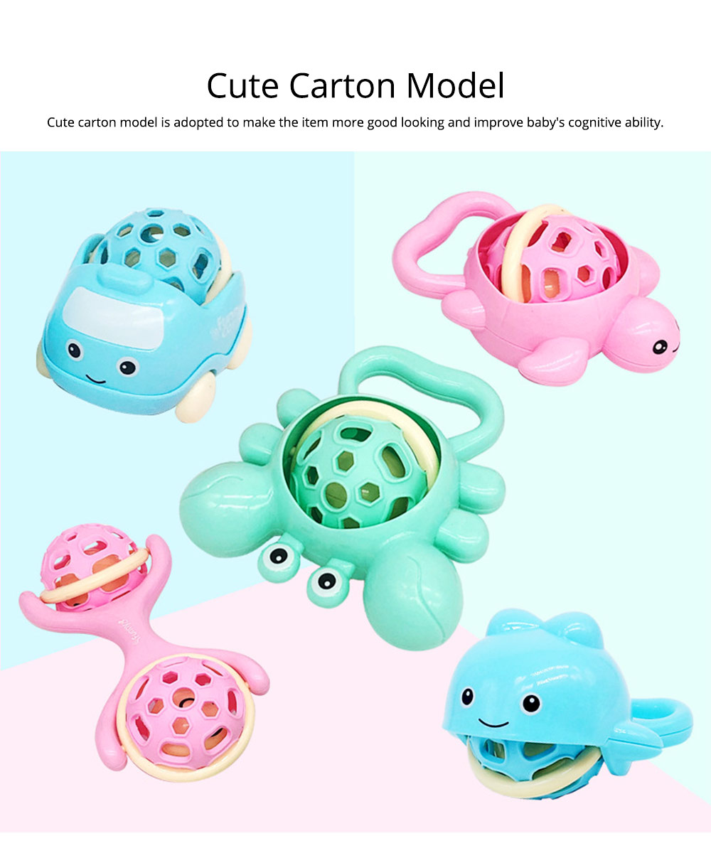 Cute Animal Dumbbell Car Model Teether Molar Rattle for Infants,Flexible Soft Environmentally Safe Plastic Grinding Gum Toy 4