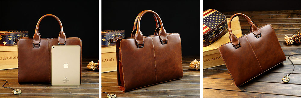 Business Shoulder Bag with Comfortable Hand Belt & Metal Zipper, PU Leather & Square Pull Card Shoulder Bag 9