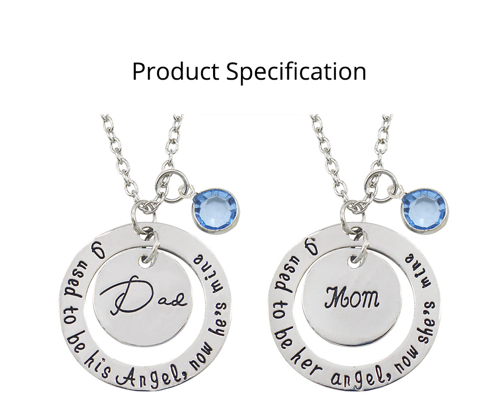 Family Series Pendant with Creative Letters of Dad & Mom Angel, Father's Day and Mother's Gift Angel Necklace 9
