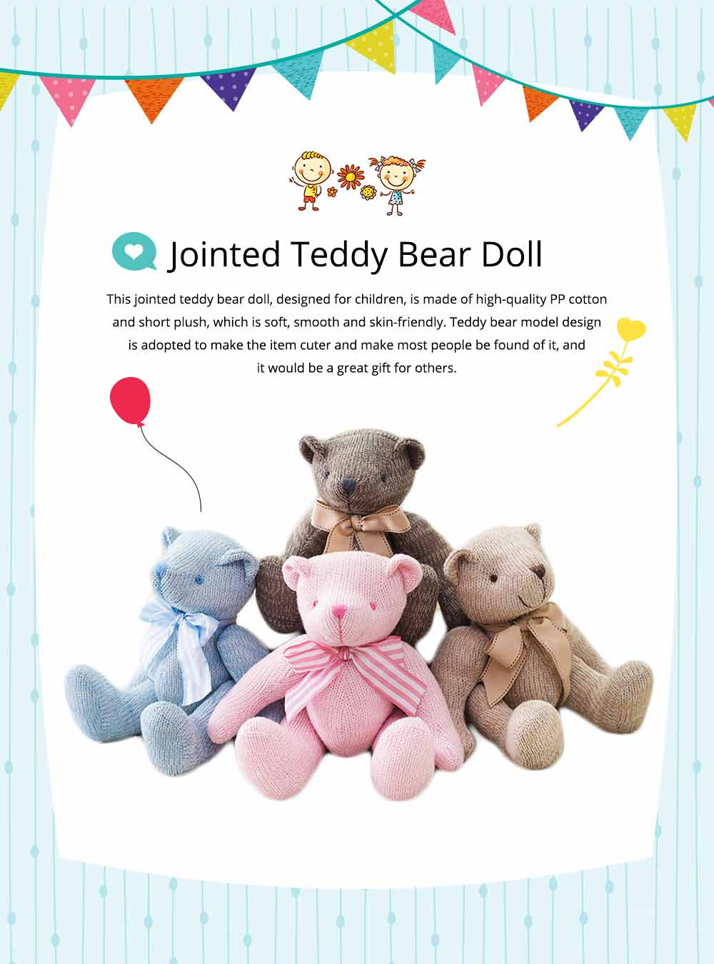 Cute Jointed Teddy Bear Doll with Bow Decoration, Animal Carton Fluffy Toy Birthday Present Gift for Children 0