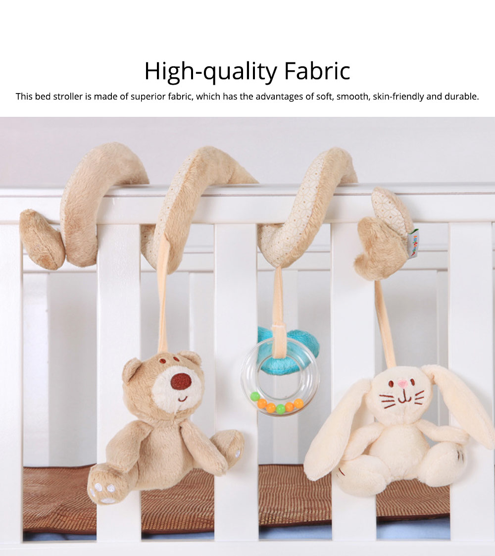 Fancy Cute Bear Rabbit Hanging Rattle for Bed Stroller, Newborn Infant Babies Bedside Winding Pacification Toy 1