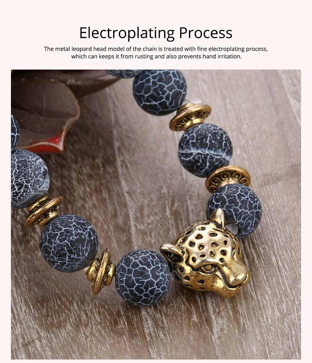 Stylish Elastic Beaded Bracelet Bangle for Men Women, Aggressive Natural Stone 8mm Beads Leopard Head Hand Chain 3