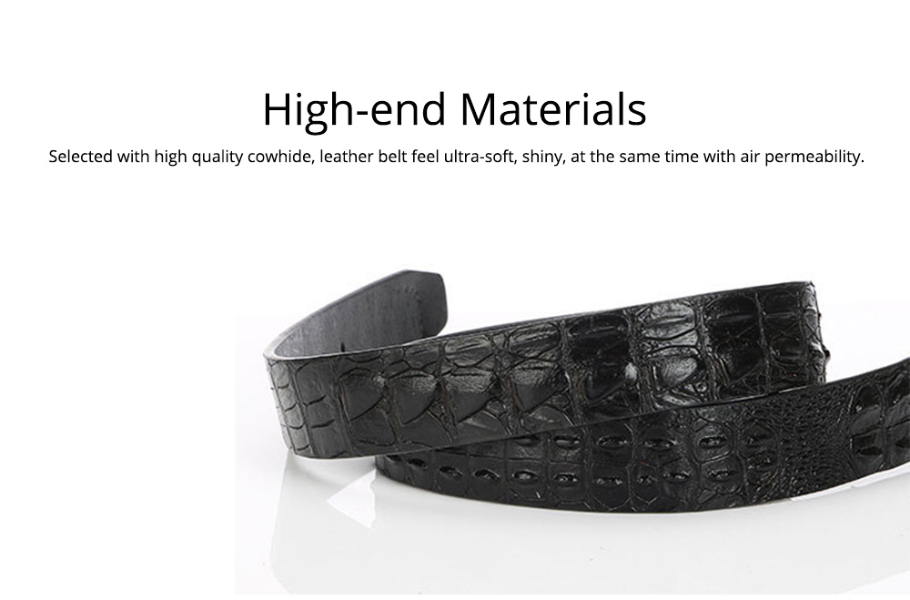 Men's Alloy Buckle Belt with Crocodile Smooth Buckle, Premium Leather Polished Stone Business Belt for Father's Day 6