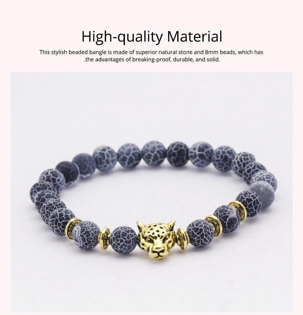 Stylish Elastic Beaded Bracelet Bangle for Men Women, Aggressive Natural Stone 8mm Beads Leopard Head Hand Chain 1