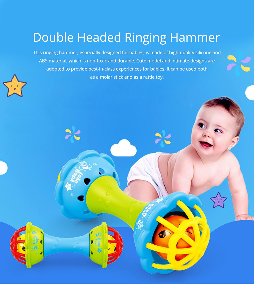 Soft Silicone Teether Plastic Hand Bell Hammer, Solid ABS Handbell Rattle Babies Early Education Toy 0