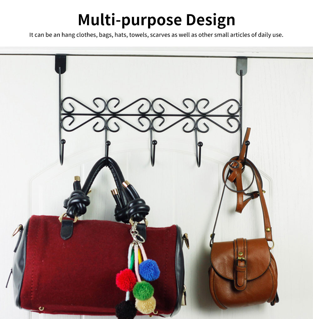 Iron Door Hook with Non-trace Iron Beads & Wide Range of Application, Hook Coat Rack with Twisted Hooks in Matte Black 5