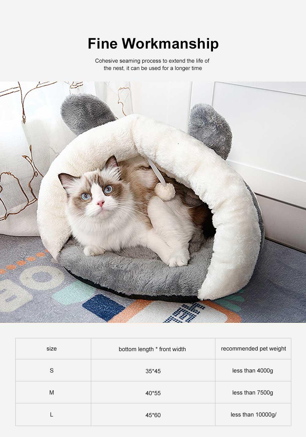 Plush Triangle Cat Nest Bed, Keep Warm Cat Nesting Dolls, Luxury Cotton Kitty Nest 5