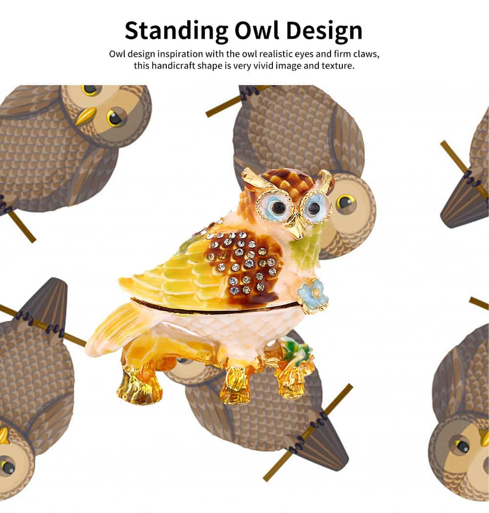 Standing Owl Shape Jewelry Storage Box Drip-oil Set with Diamond Metal Handicraft Furnishing For Women to Storage Jewelry and Presents 2