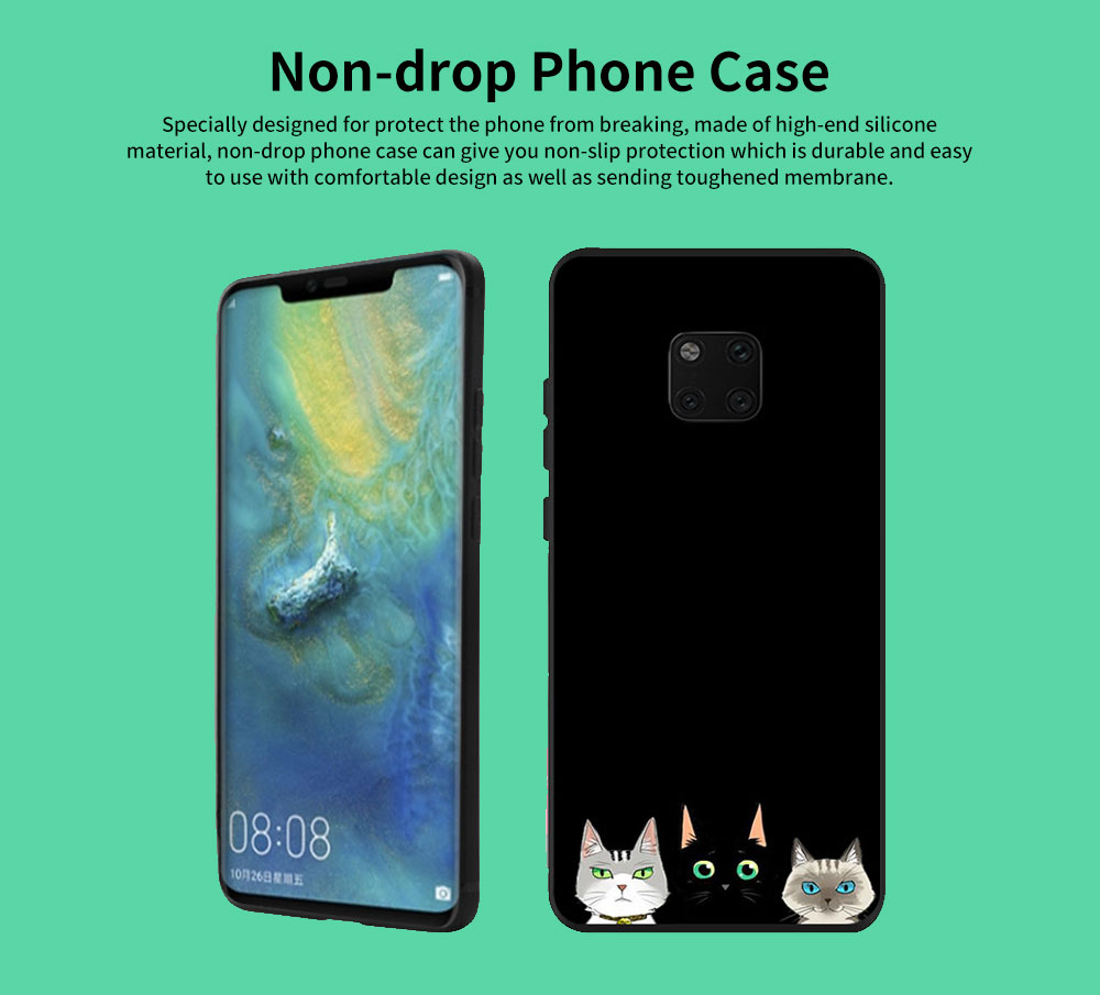 Non-drop Phone Case for HUAWEI Mate 20x/20, mate 9/9 pro, HD Colorless Painted Soft Shell Full Package with Black Background Design of Three Kittens 0