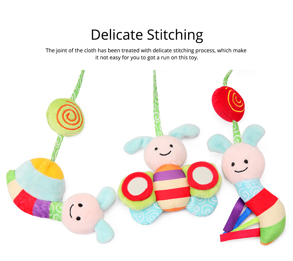 Baby Stroller Butterfly Hanging Plush Toys, Pram Bedside Winding Fluffy Pacification Toy Ornament 4