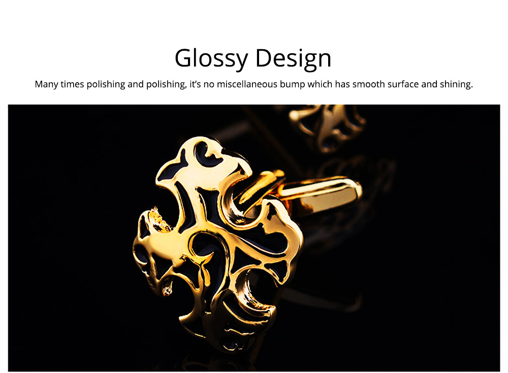 Men's Multiple Crosses Classical Cufflink, French Style Shirts Cufflink Texture Cross Buttons 4