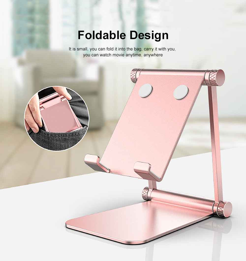 Aluminum Alloy Metal Flexable Tablet Phone Stand Holder, Desktop Foldable Adjustable Kickstand for Universal 5