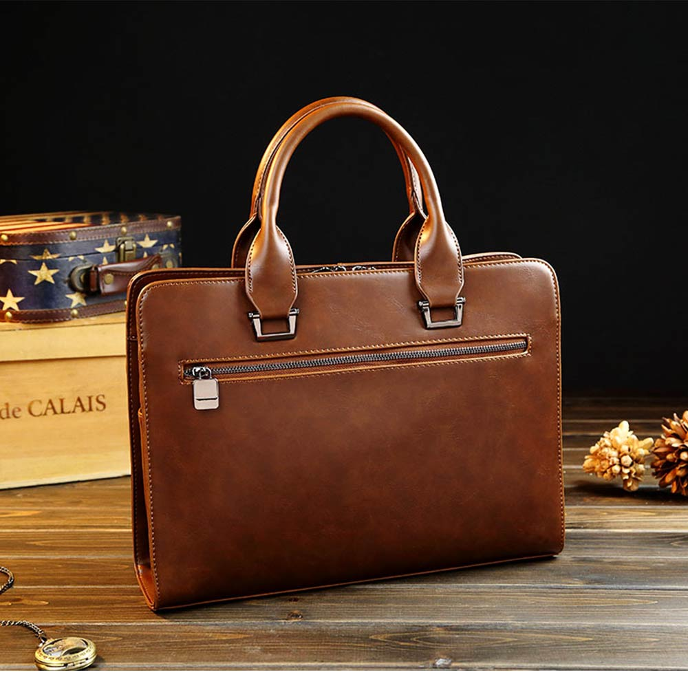 Business Shoulder Bag with Comfortable Hand Belt & Metal Zipper, PU Leather & Square Pull Card Shoulder Bag 7