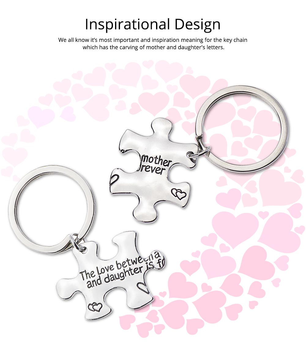 Mother Daughter Inspirational Key Chain, Stainless Steel Engraved Key Chain Universal Key Ring Pendant 3