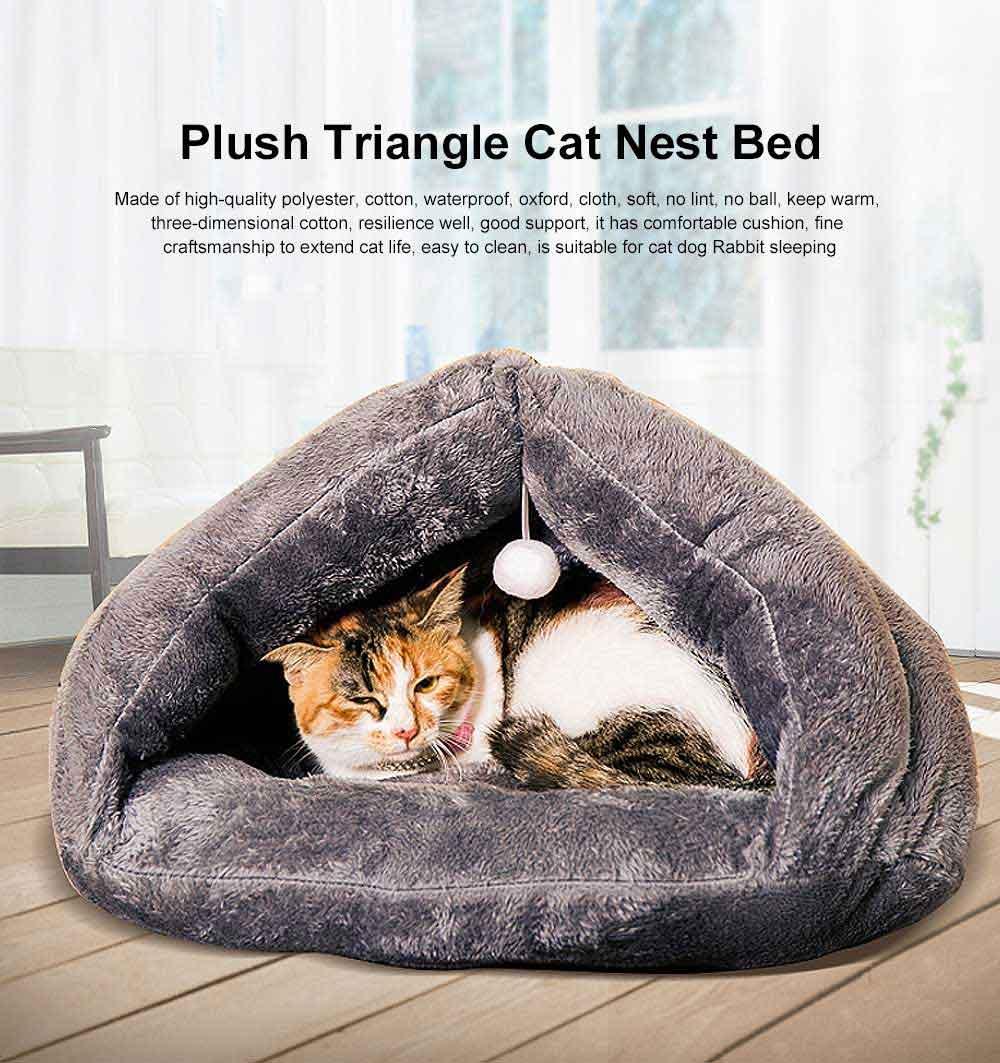Plush Triangle Cat Nest Bed, Keep Warm Cat Nesting Dolls, Luxury Cotton Kitty Nest 0