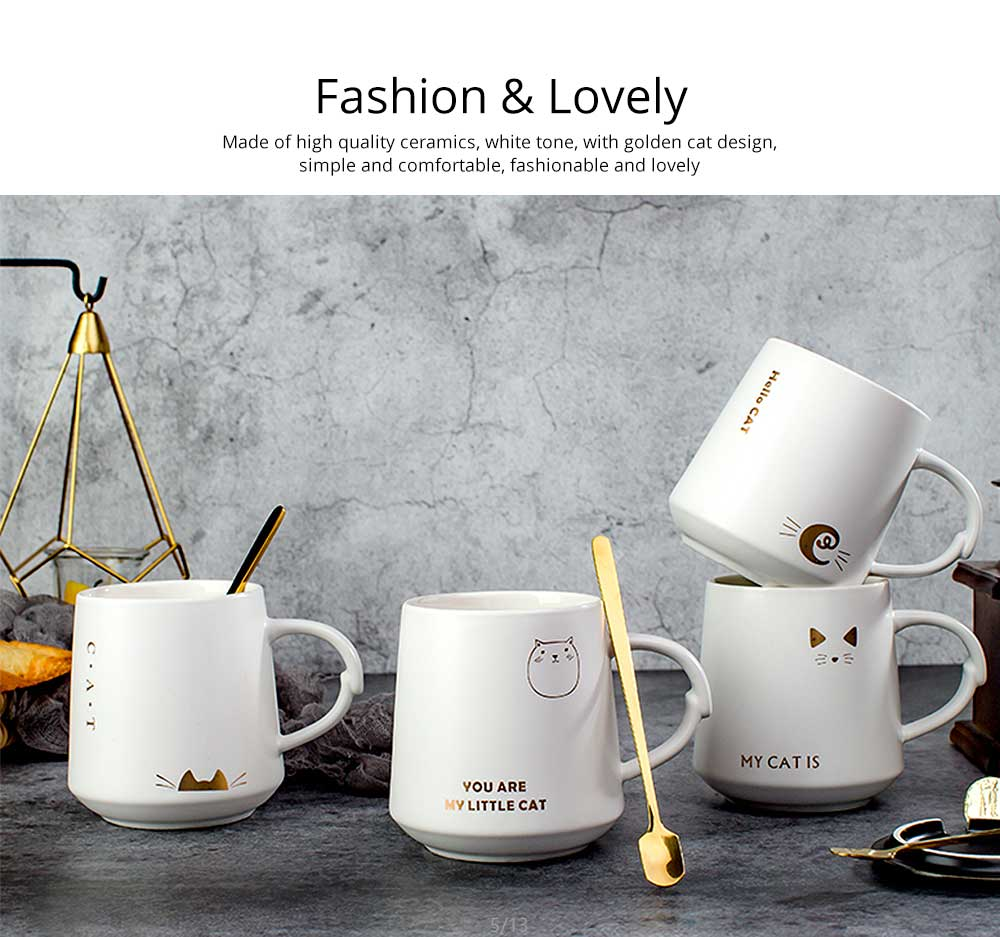 Trending Ceramic Mug for Female and Student, Cute Breakfast Coffee Cup with Lid Spoon 1