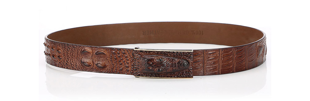 Men's Alloy Buckle Belt with Crocodile Smooth Buckle, Premium Leather Polished Stone Business Belt for Father's Day 3