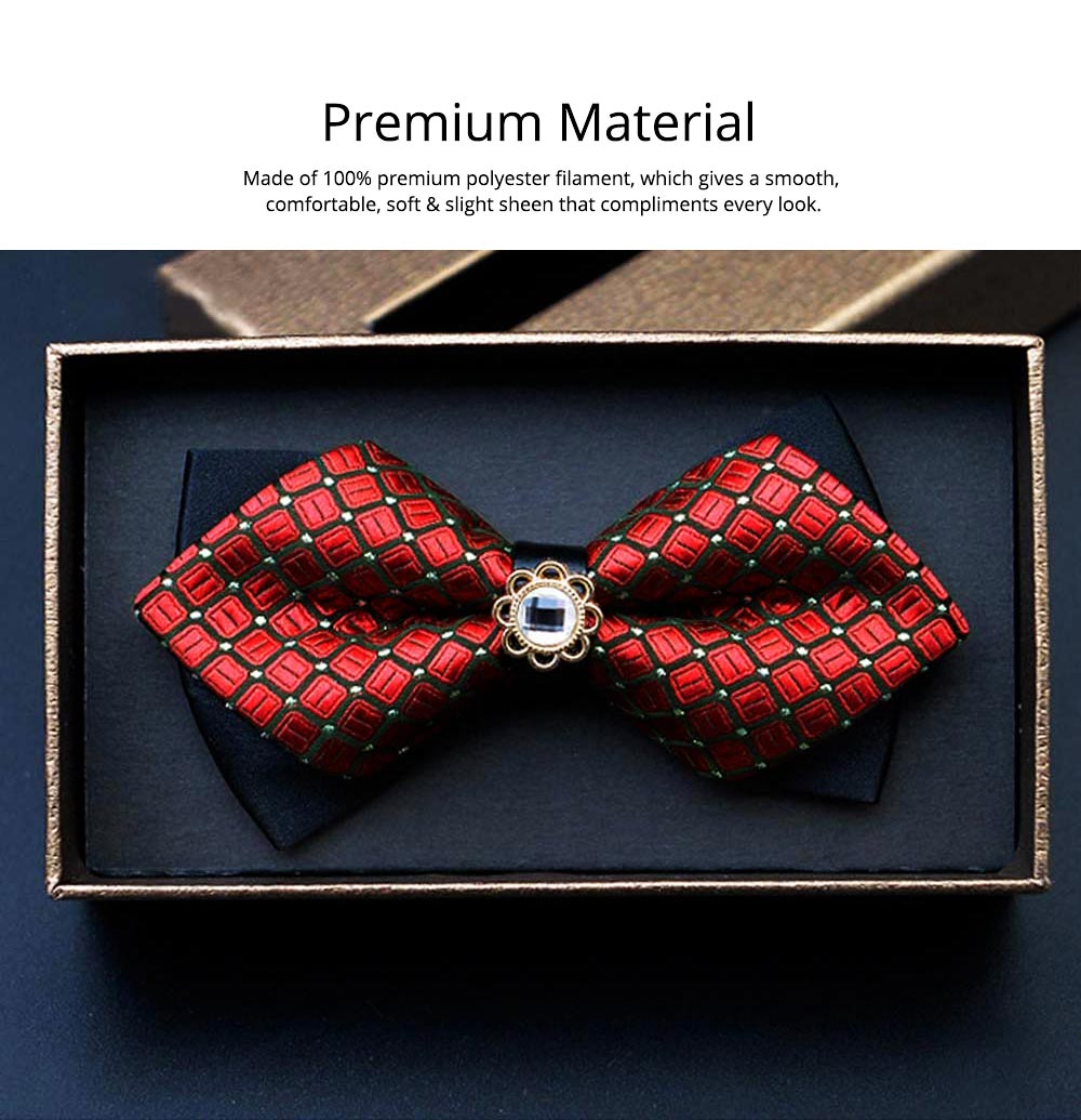 Elegant Groom Bow Tie for Men Boys - Various Style in Different Color, Gentleman Grid Bow Tie Set with Bead 2