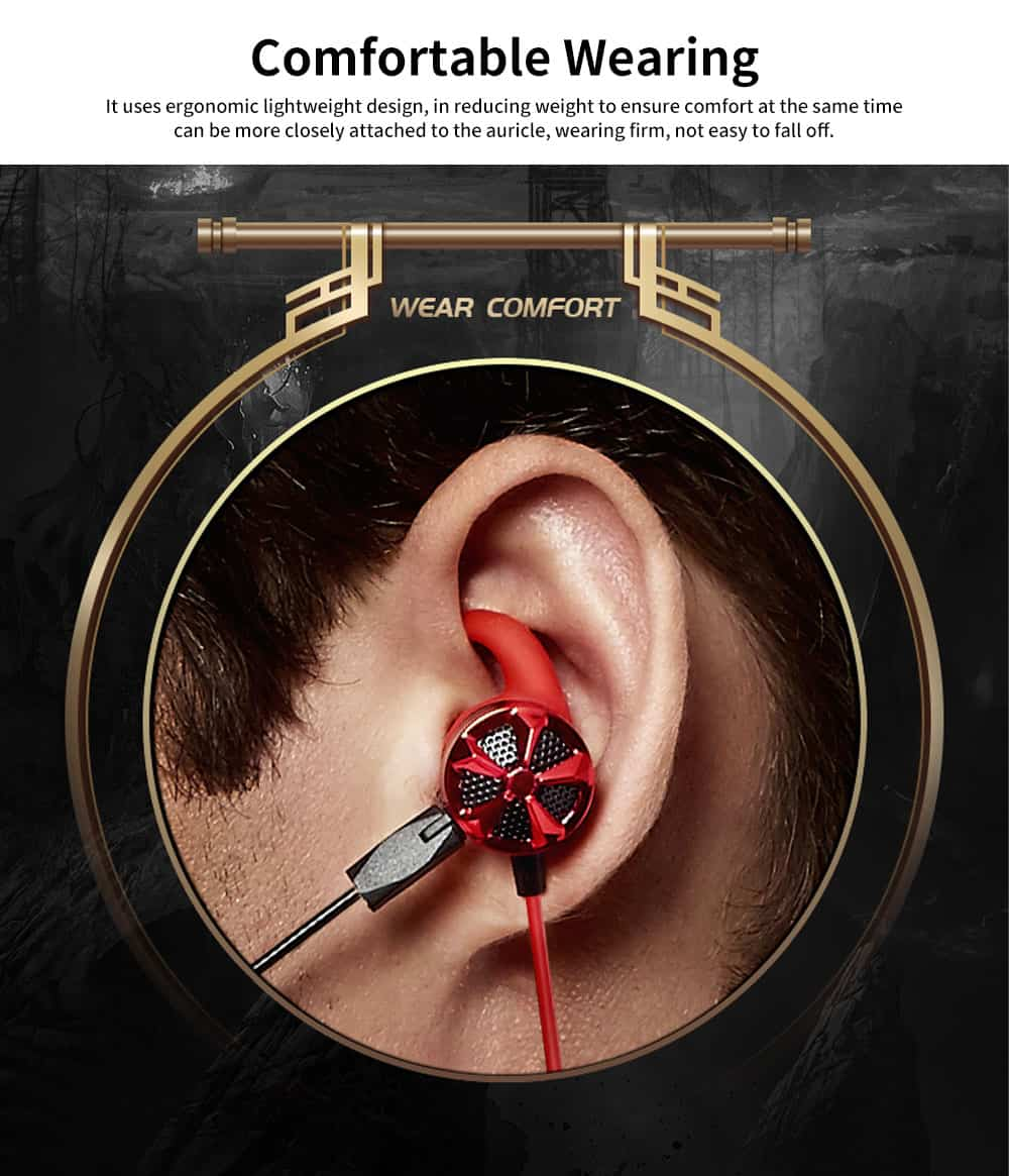 Gaming Mobile Phone Games Headphones with Graphene Diaphragm, Plugged Out Microphone & 7.1 Track, Professional E-sports Mobile Game headphones 3