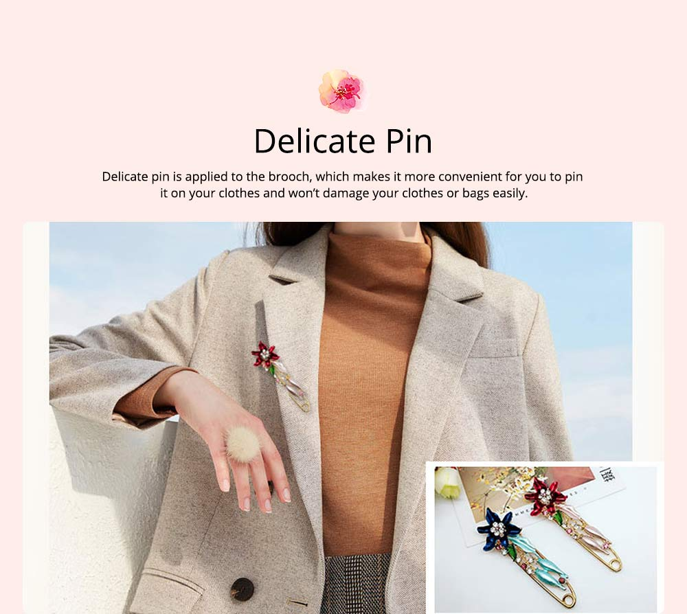 Elegant Dainty Lily Flower Dripping Alloy Breastpin for Women, Rhinestone Embellishment Bags Scarf Clothes Decoration Accessories Flower Brooch 4