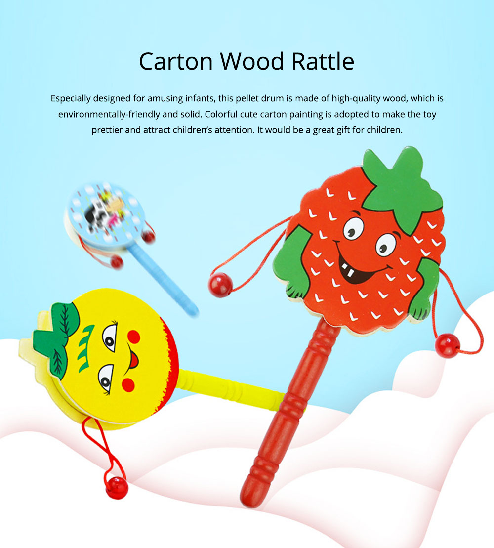 Classical Chinese Style Wooden Rattle for Children, Cute Cartoon Painting Pellet Drum Musical Toy for Early Education 0