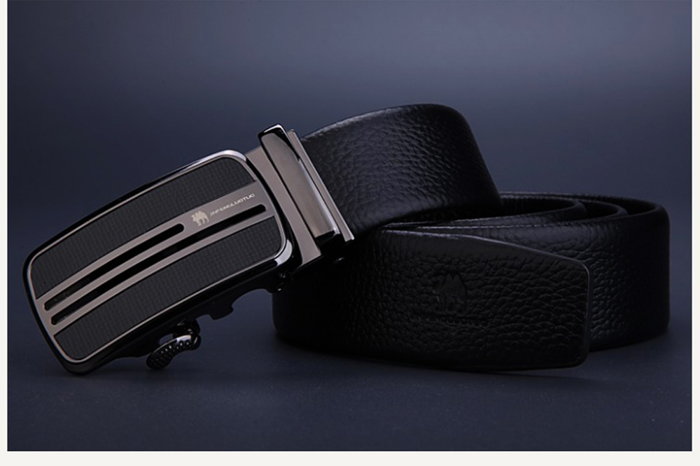 Men's Scratch Resistant Pure Leather Belt with Texture Alloy Buckle, Automatic Buckle Business Belt for Father's Day 9