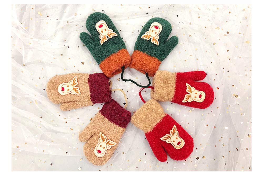 Cute Warm Children Deer Antler Beanie Cap Scarf Gloves 3 PCS Suit, Elegant Cartoon Animal Sewing Autumn Winter Christmas Accessories Set for Children 8