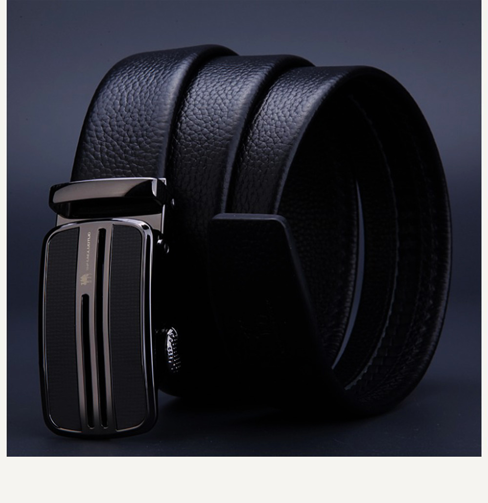 Men's Scratch Resistant Pure Leather Belt with Texture Alloy Buckle, Automatic Buckle Business Belt for Father's Day 11