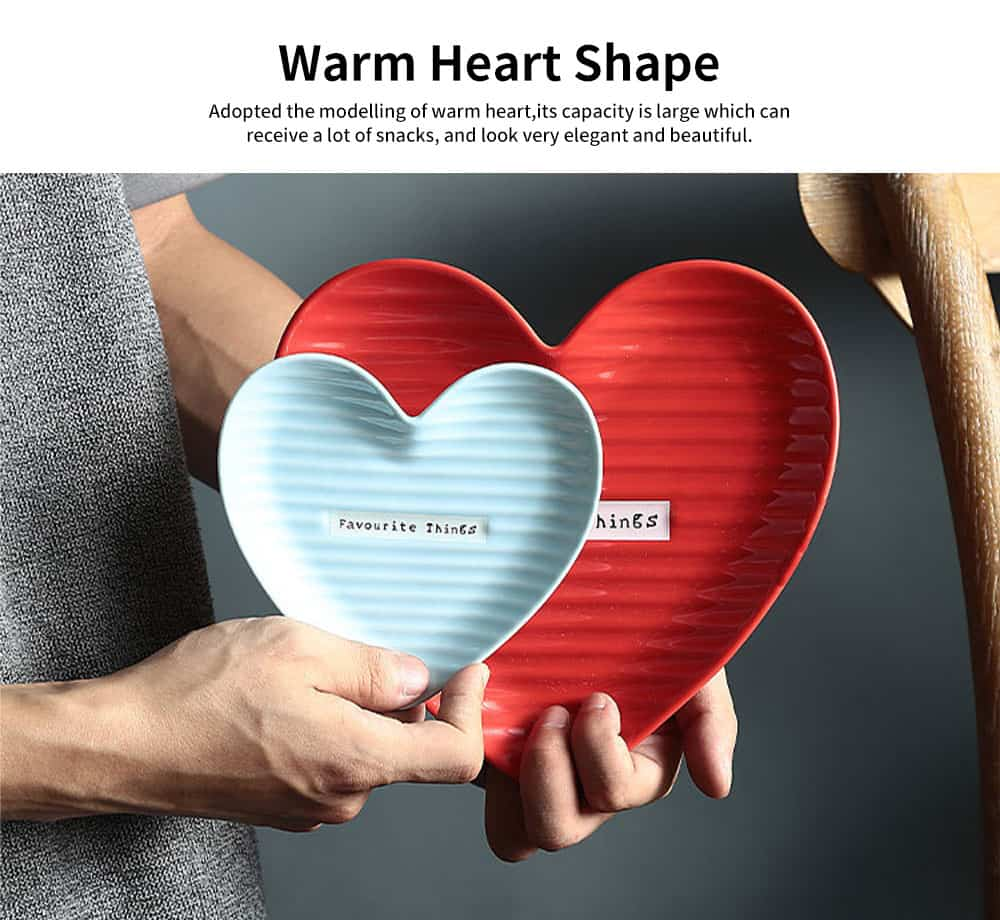 Creative Dessert & Cakes Storage Plate with Warm Heart Shape, Streamline Design Ceramic Breakfast Tray 2