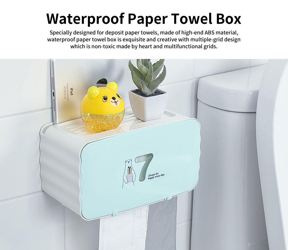 Multifunctional Waterproof Paper Towel Box with Hole-free Design for Paper-drawing & Roll Paper 0