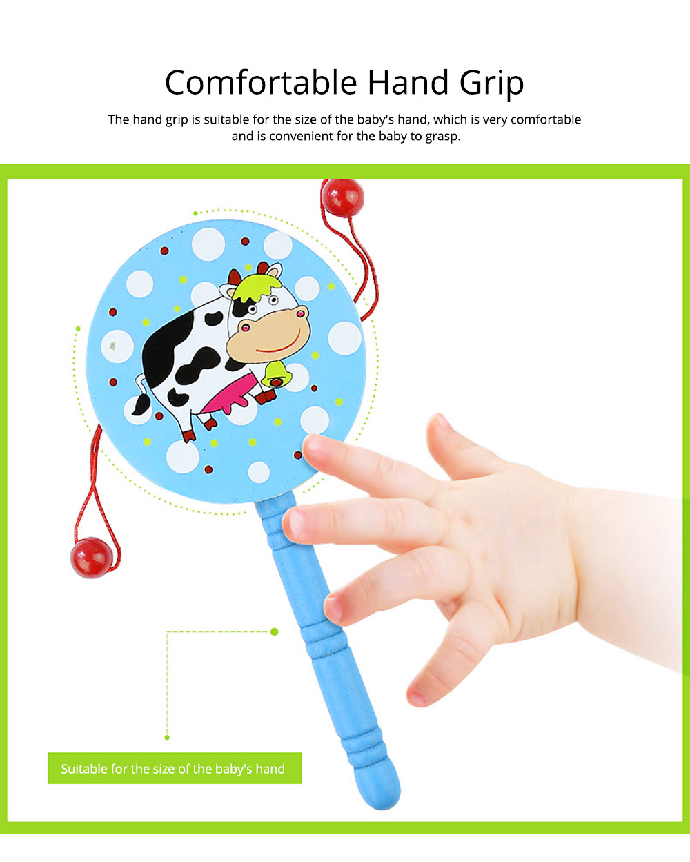 Classical Chinese Style Wooden Rattle for Children, Cute Cartoon Painting Pellet Drum Musical Toy for Early Education 4