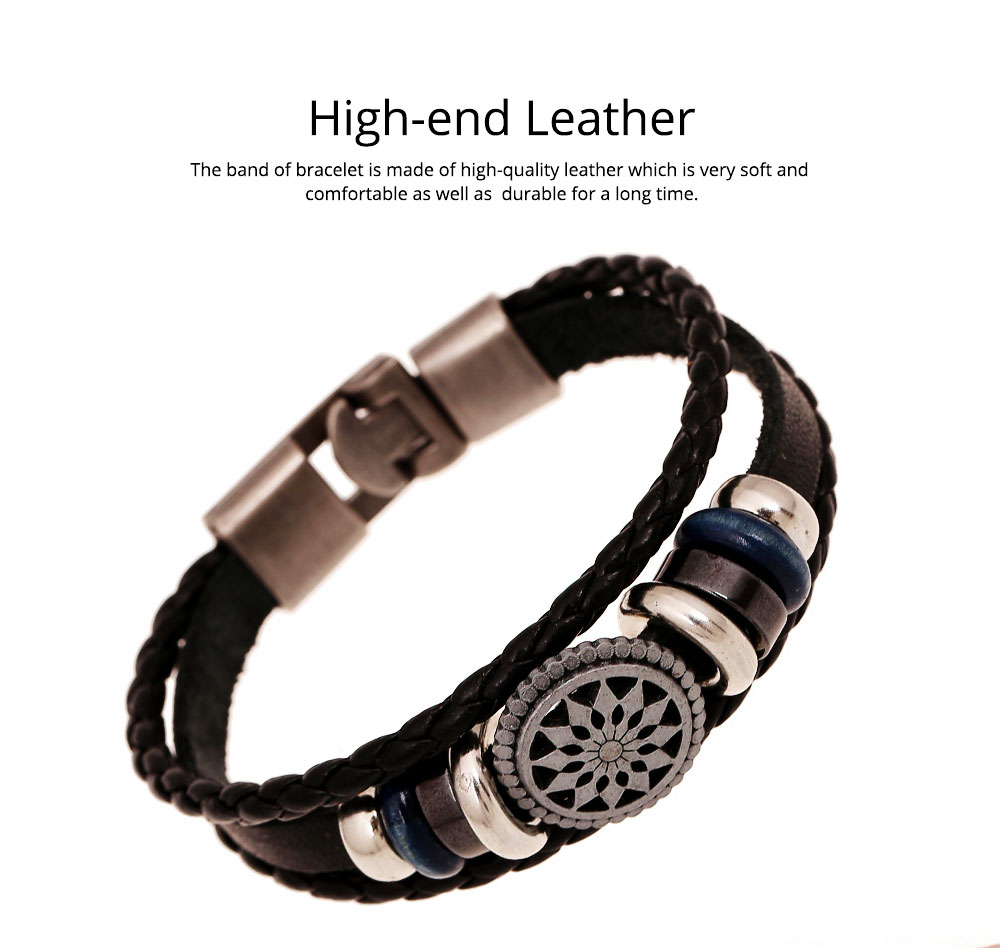 Woven PU Leather Bracelet, Men' Cowhide Hand Ornament for Father's Day Gift, Birthday Gift, Business Activity Gift 1
