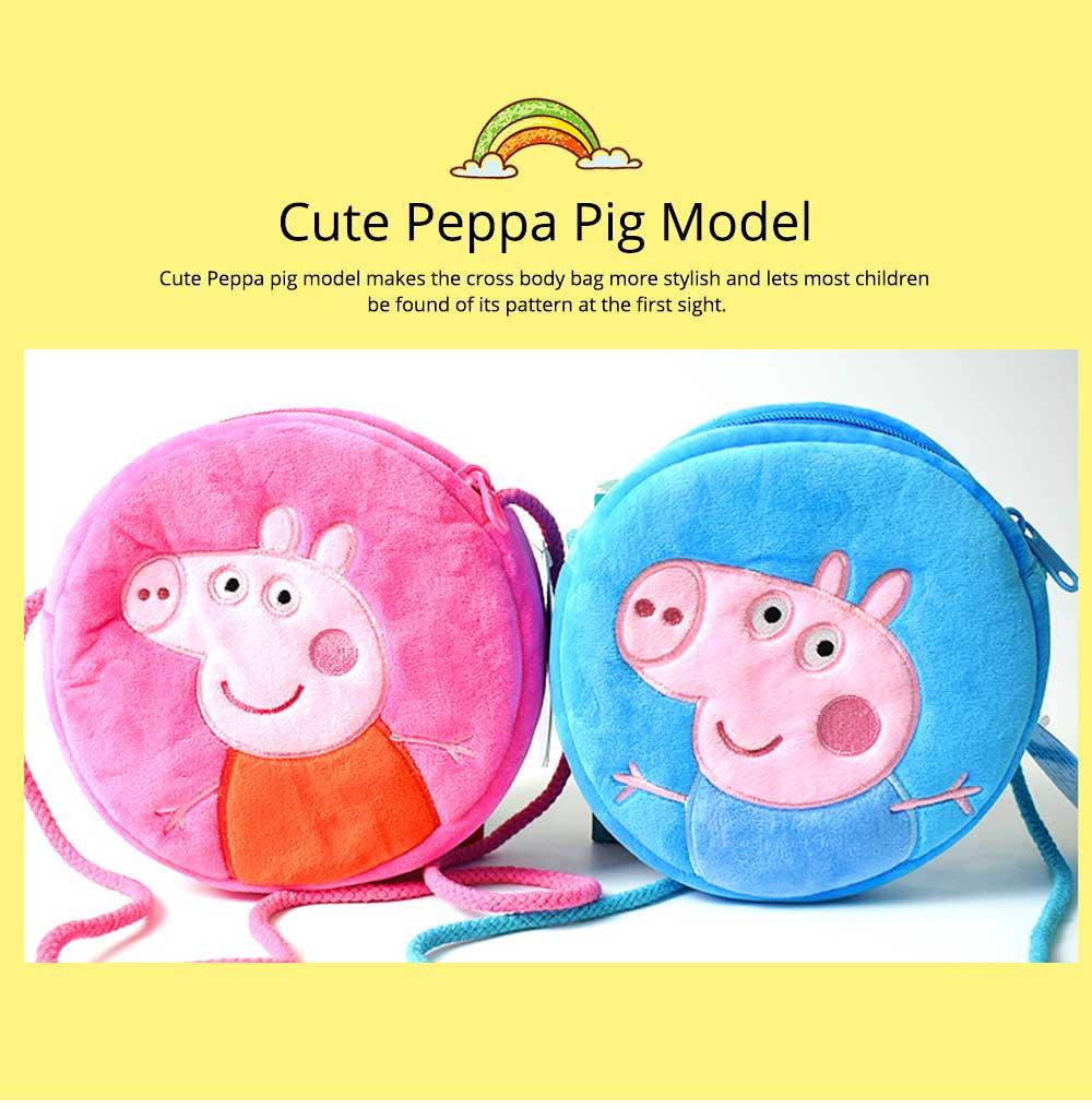 Cute Peppa George Pig Little Round Children Shoulder Bag, Ultrasoft Plush Cotton Satchel Cross Body Bag for Girls Boys 7