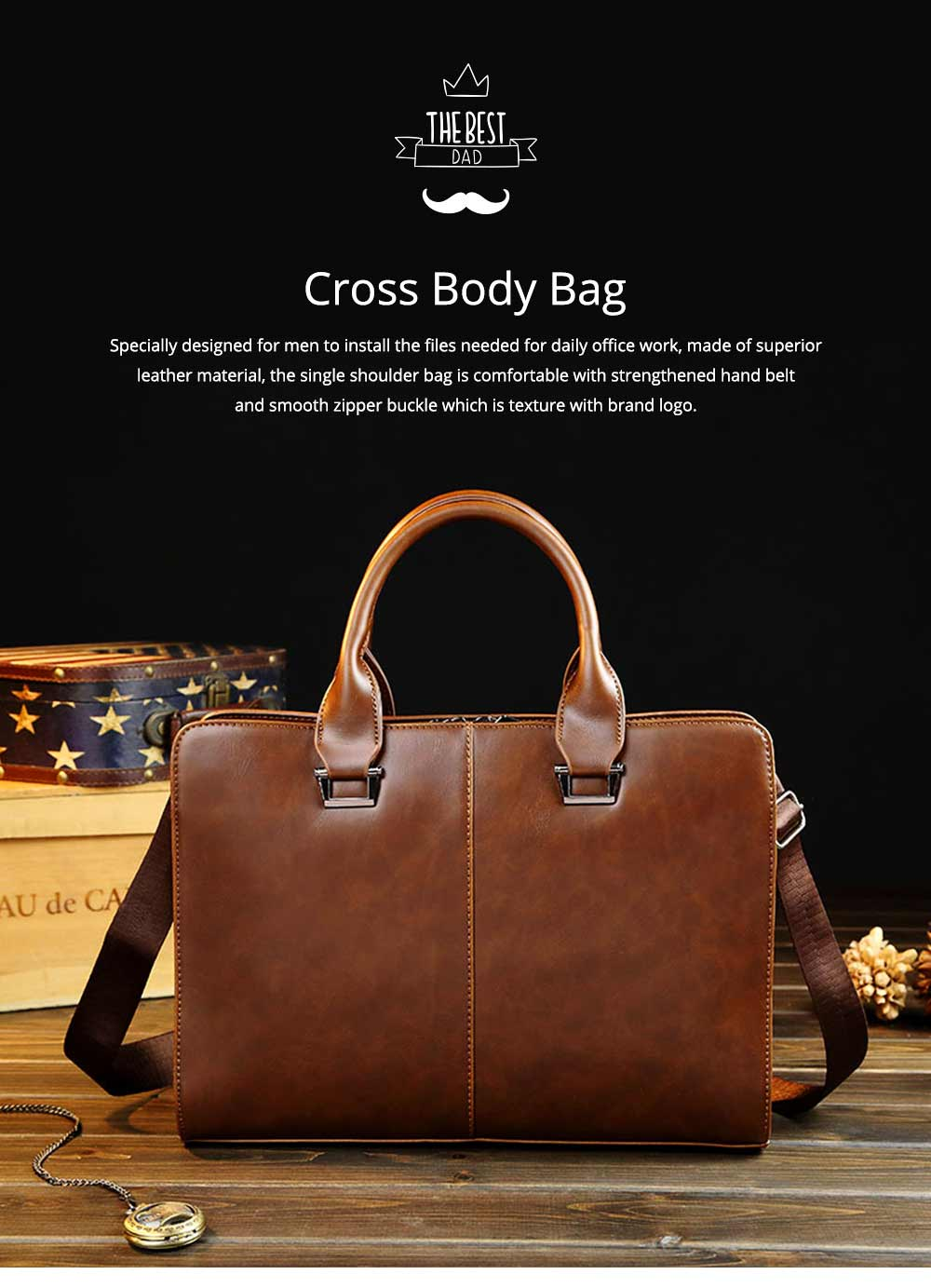 Business Shoulder Bag with Comfortable Hand Belt & Metal Zipper, PU Leather & Square Pull Card Shoulder Bag 0