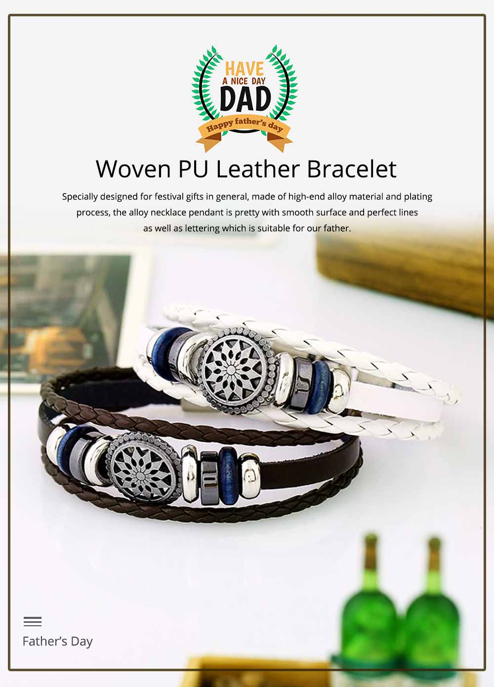 Woven PU Leather Bracelet, Men' Cowhide Hand Ornament for Father's Day Gift, Birthday Gift, Business Activity Gift 0