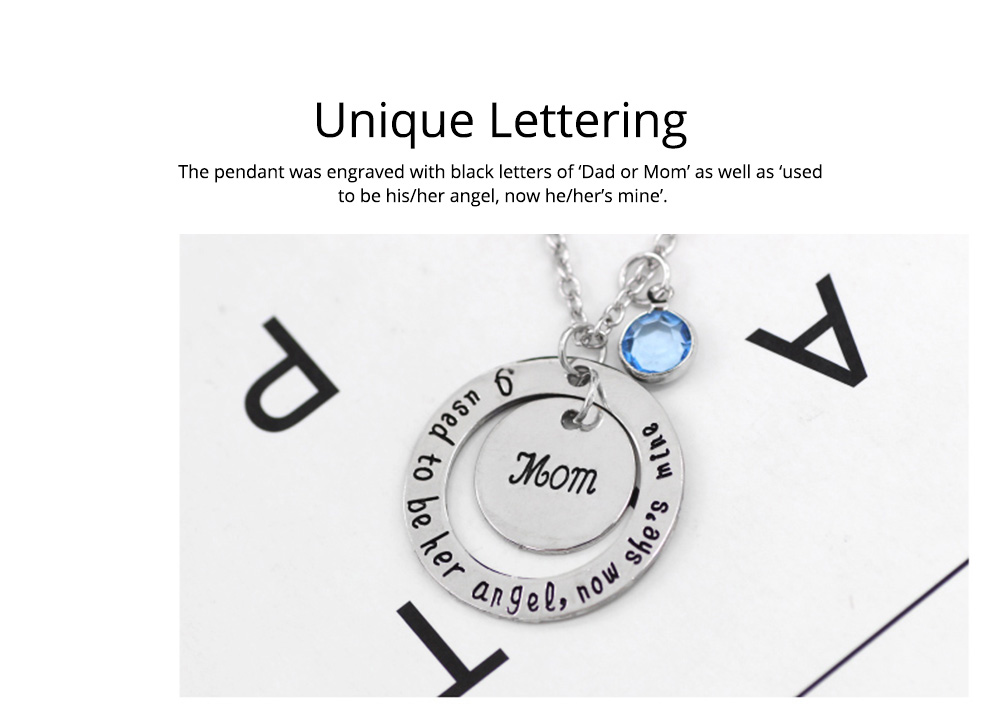 Family Series Pendant with Creative Letters of Dad & Mom Angel, Father's Day and Mother's Gift Angel Necklace 1