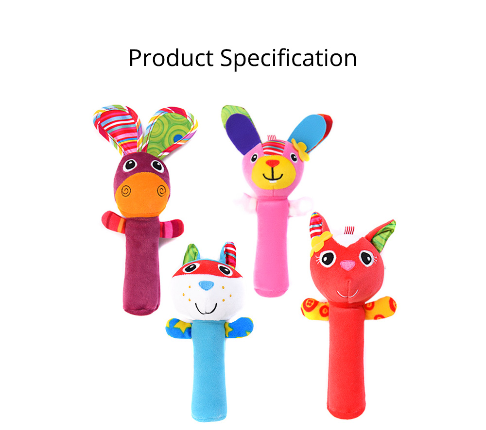 Colorful Cute Animal Model Rattle Pacification Toy for Infants, Ultrasoft Hand Grab Toy BB Stick Baby Early Education Toy 6