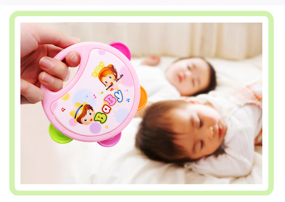 Colorful Baby Hand Bell with Cute Painting, Delicate Solid Plastic Children Tambourine Rattle Early Education Toy 2