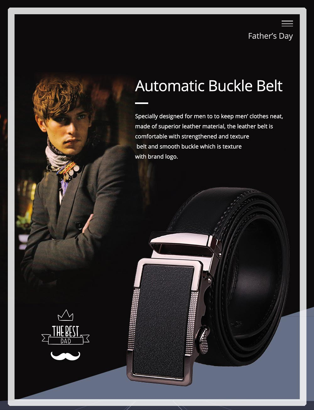Men' Alloy Automatic Buckle Belt with Stainless Steel Buckle, Second Floor Leather Polished Stone Business Belt 0