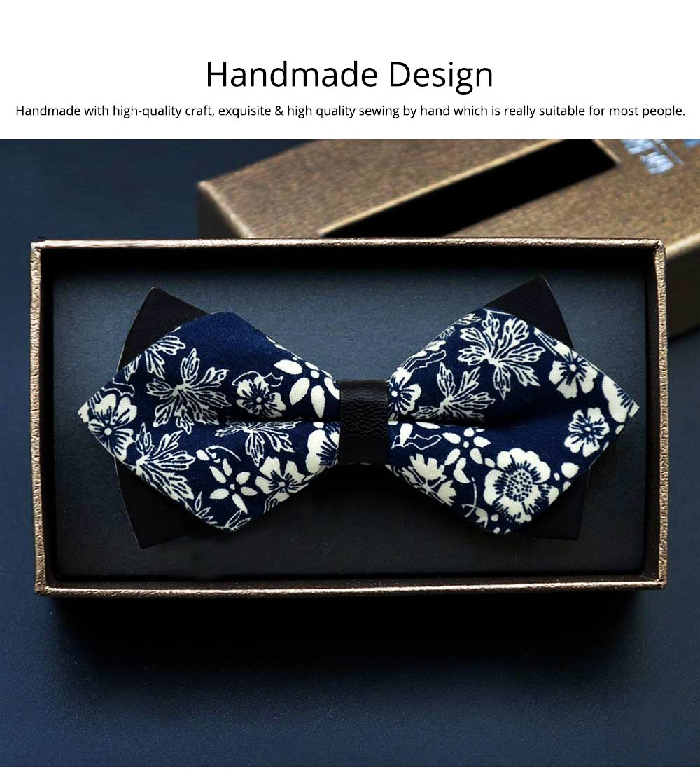 Elegant Groom Bow Tie for Men Boys - Various Style in Different Color, Gentleman Grid Bow Tie Set with Bead 5