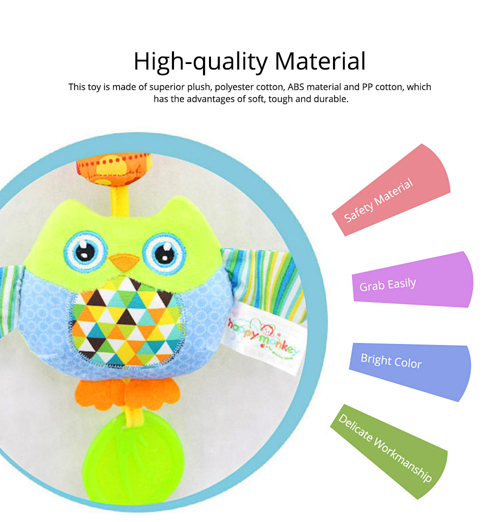 Cute Carton Baby Teether with Butterfly Chick Owl Bird Model, Soft Grinding Gum Campanula Series Pacification Toy 1