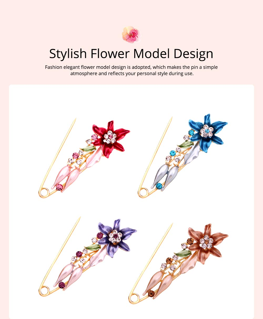 Elegant Dainty Lily Flower Dripping Alloy Breastpin for Women, Rhinestone Embellishment Bags Scarf Clothes Decoration Accessories Flower Brooch 3