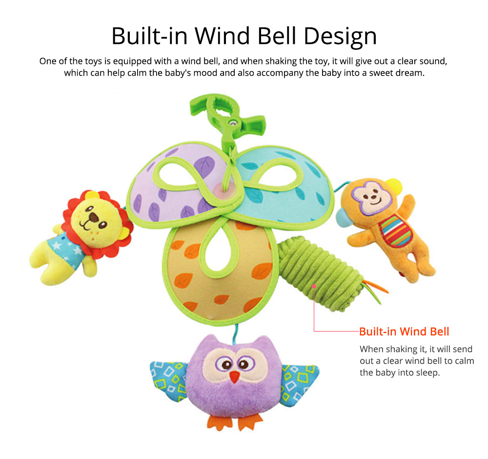 Cute Carton Forest Ocean Animal Series Baby Mobiles, Pacification Toy Wind Bell with Three Leaves Rotation Design for Infants 8