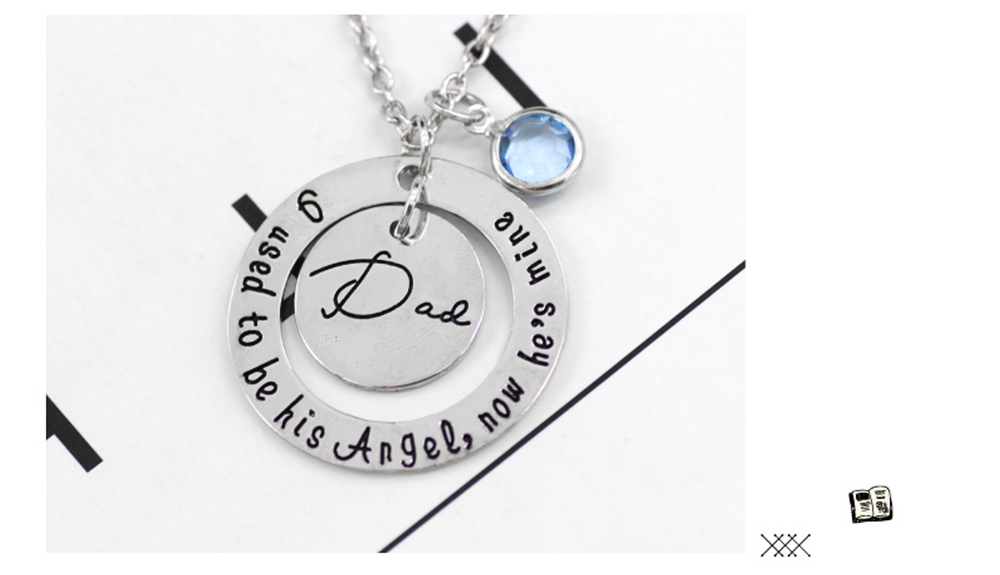 Family Series Pendant with Creative Letters of Dad & Mom Angel, Father's Day and Mother's Gift Angel Necklace 2