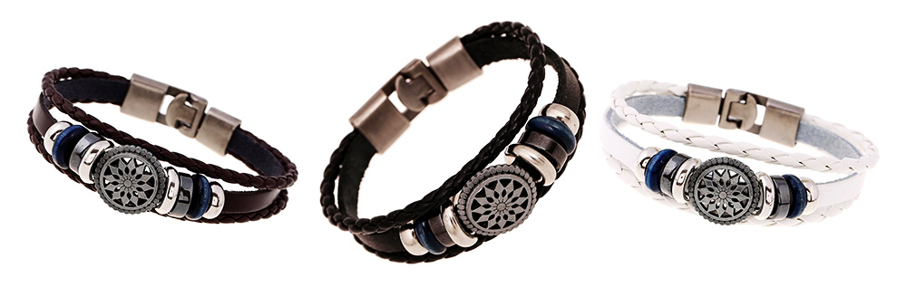 Woven PU Leather Bracelet, Men' Cowhide Hand Ornament for Father's Day Gift, Birthday Gift, Business Activity Gift 9