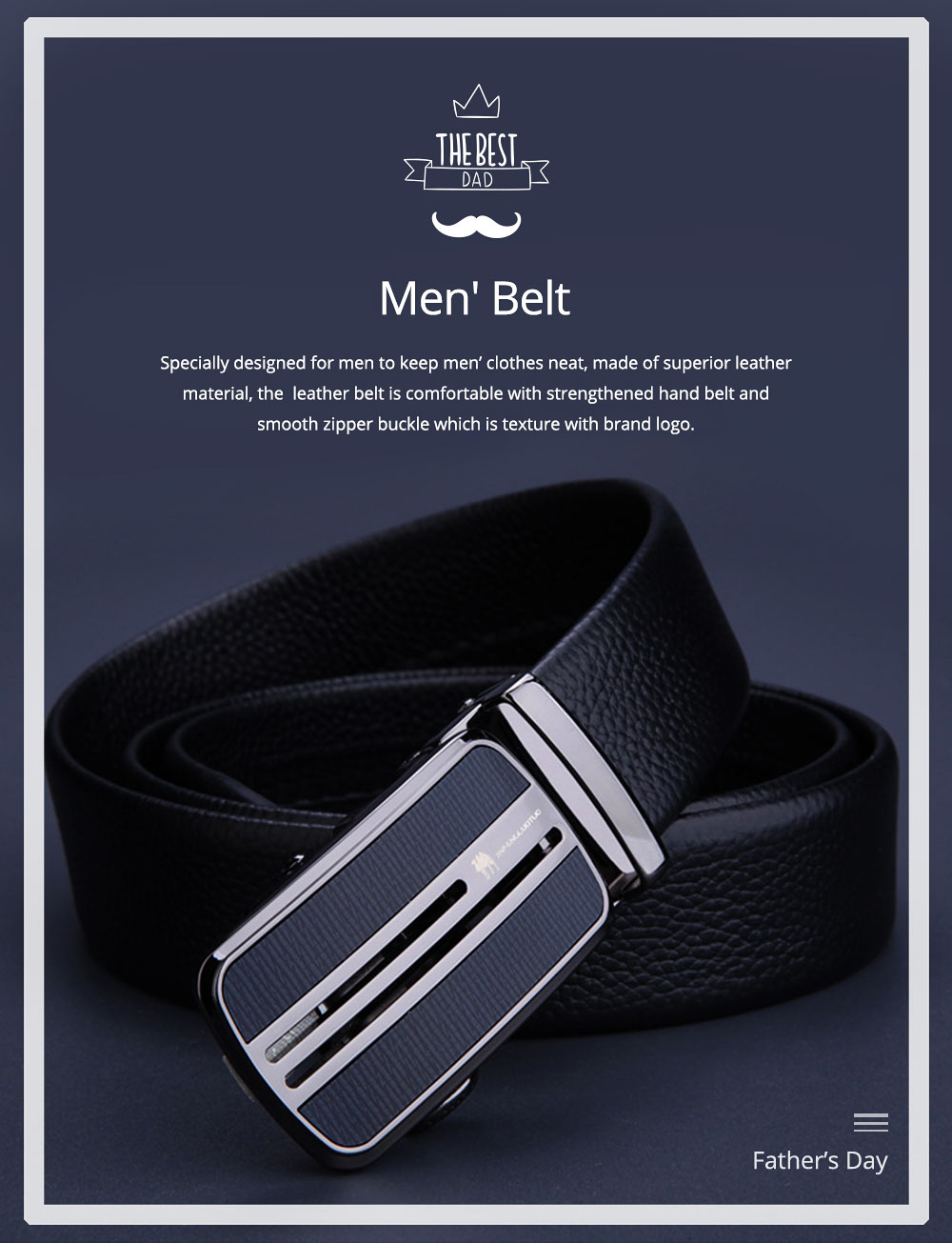 Men's Scratch Resistant Pure Leather Belt with Texture Alloy Buckle, Automatic Buckle Business Belt for Father's Day 0
