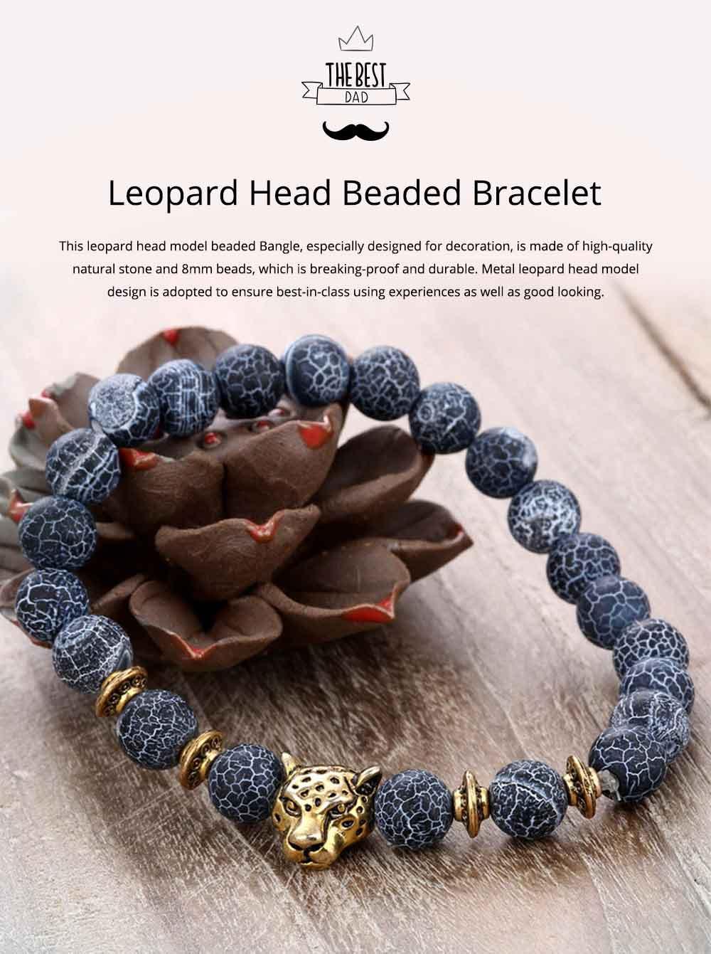 Stylish Elastic Beaded Bracelet Bangle for Men Women, Aggressive Natural Stone 8mm Beads Leopard Head Hand Chain 0